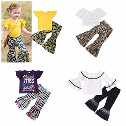 Chinese  2pcs lot Children suits summer new fashion girls lace top & leopard bell-bottoms children's clothing set boutique manufacturers