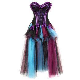 Chinese  sexy renaissance charmain womens Corsets Dress with Skirt mesh Burlesque floral lace overlay corset bustier victorian red purple manufacturers