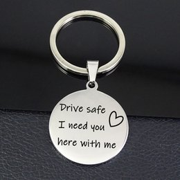 jewelry safes wholesale NZ - Simple Keyring Drive Safe I Need You Here With Me Pendant Keychain Stainless Steel Jewelry Best Gift For Men And Women YP4199