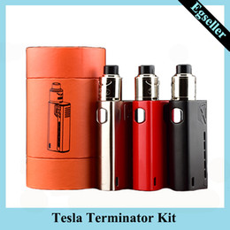 rda starter kit UK - Tesla Terminator Kit 90W TC Starter Kit VW 18650 Battery Box Mod Antman 22 RDA Atomizer 0268057-1