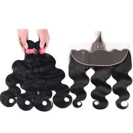 Virgin Deep Curly Brazilian Hair UK - Brazilian Virgin Hair Bundles with Closures 13X4 Ear To Ear Lace Frontal Closure Body Wave Straight Loose Wave Kinky Curly Deep Human Hair