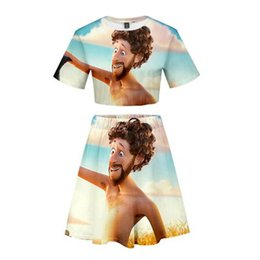 140e3fc0fc Two Piece Sets LIL DICKY Earth Fashion 3D Printed Women Sexy summer Short  Sleeve Crop Tops+Skirt Sale Casual Streetwear Skirt