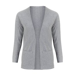 Soft Loose Knit Sweater UK - Women Outdoor Autumn&Winter Loose Long-sleeved Knit Cardigan Soft Sweater Blouse Solid Loose Ladies Coats Outwear Long Cardigan