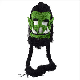 China 2017 Novelty Men's Caps Handmade Crochet Winter Warm Hats Game Thrall Masks Funny Halloween Xmas Birthday Party Gift cheap crochet birthday hat suppliers