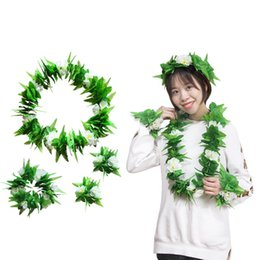 $enCountryForm.capitalKeyWord Australia - Cloth Category Green Leaf Head Rings Stage Performing Costumes Bracelet Festival Decoration White Flower Neck Ring New Arrival 6ck L1