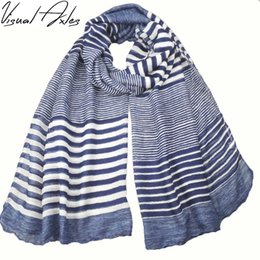 $enCountryForm.capitalKeyWord Australia - [Visual Axles] New Arrival Print Blue Striped Scarf Women 2017 Fall Season 180*90cm Big Size Fashion Long Scarfs