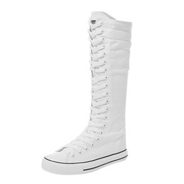 long boots lace flat Australia - Canvas-Shoes Long-Boots Women's Ladies Motorcycle Knee High Long Boots Flat Zipper Lace Up Basic White Shoes zapatos de mujer