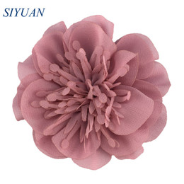 chiffon flower hair clips wholesale UK - 5pcs lot 9cm Large Artificial Chiffon Flower with without Hair Clip Retail Hairpin Accessories