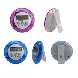 Digital Kitchen Count Down Australia - Round Shape Electronic Count Down Clip Novelty Digital Kitchen Timer Cooking Helper Mini Digital LCD Timer Alarm wang01