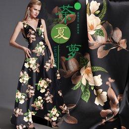 $enCountryForm.capitalKeyWord Australia - Tea Printed Silk Fabric Stretch Satin By Meter Width 46 Inch Fabric Black Stretch Satin By Meter Width 46 Inch Cheongsam Material Vintage