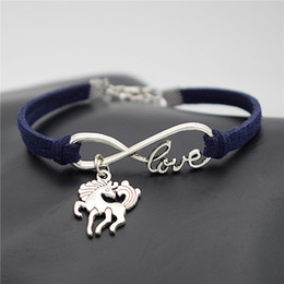 $enCountryForm.capitalKeyWord Australia - Fashion Punk Dark Navy Leather Suede Bracelets Lucky Infinity Love Unicorn Dancing Horse Handmade Charm Bangles Women Men Friendship Jewelry