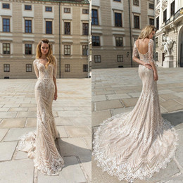 Wholesale designing wedding dresses resale online - 2020 Sexy Crystal Design Mermaid Wedding Dresses Bateau Neck Backless Sweep Train Champagne Wedding Dress Long Sleeve Beach Bridal Gowns