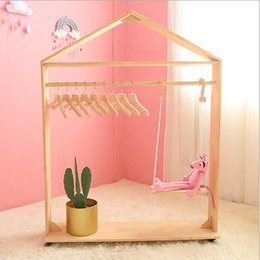 clothes floor hanger Canada - Floor roller rack Children's clothing store shelf display rack Movable small house hanger Ins Nordic Children's Ground Roller Rack