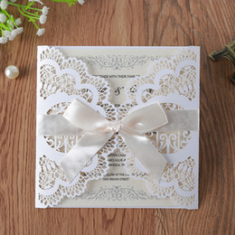 chinese engagement cards UK - 50pcs White Laser Cut Lace Wedding Invitations Cards with Printable Paper and Envelopes for Engagement Wedding Bridal Shower Baby Shower