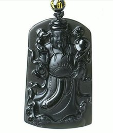 $enCountryForm.capitalKeyWord Australia - New Chinese handmade work Natural black obsidian carving Chinese god of wealth Lucky pendants necklace fashion fine jewelry amulet