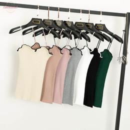 Women ruffled tank online shopping - Knitted Ruffles Tank Tops Women Pink Sweet V Neck Crop Tops Womens Hight Qualite Solid Tops Kawaii Sexy Beige T Shirts