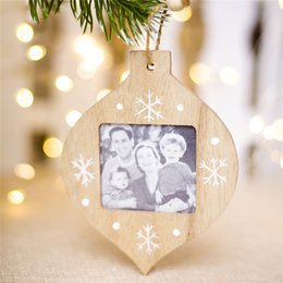 Wooden Wall hangings online shopping - DIY Wooden Christmas Photo Frame Pendants Hanging Home Decor Wall Picture Album Xmas Ornaments Christmas Decorations