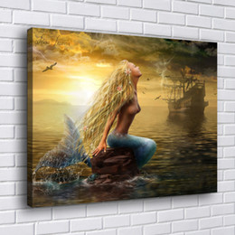 Ingrosso Bionda La Sirenetta, 1 Pezzi Home Decor HD Stampato Arte Moderna Pittura su Tela (Senza cornice / Con cornice)