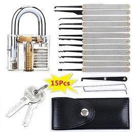 $enCountryForm.capitalKeyWord Australia - 15Pcs Set Lock Training Skill Set Clear Practice Padlock Tools Locks Key Pick Kits Quick Open Lock Learning Tools