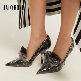 $enCountryForm.capitalKeyWord Australia - Hot Sale-Jady Rose Sexy PVC Women Pumps Pointed Toe Gladiator 8CM High Heels Ruffled Dress Shoes Woman Stiletto Valentine Shoes