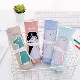 $enCountryForm.capitalKeyWord Australia - Cute Cartoon Cat Bear Unicorn Pencil Case For Girls Creative Roll Up Pencil Bag Portable Box School Supplies
