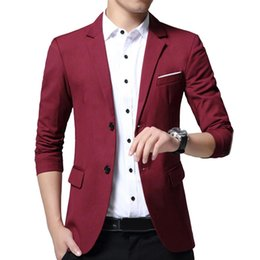 Wholesale purple man spandex suit for sale – halloween Mens Korean Slim Fashion Cotton Blazer Suit Jacket black blue Plus Size L To XL Male blazers Mens Coat Wedding One Two Button