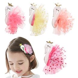 $enCountryForm.capitalKeyWord Australia - Kids Swan Headdress With Sequin Dot Yarn Princess Tiaras Girls Cygnus Hair Clips Children Mesh Crown Flamingo Hairpins
