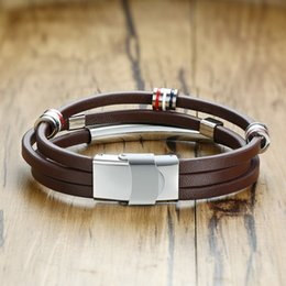 $enCountryForm.capitalKeyWord Canada - Punk Brown Color Leather Bracelt Men With Three Stainless Steel Beads Vantage Wristbands Male Bangle Casual Charm Accessories BL-439-MG