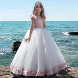 $enCountryForm.capitalKeyWord Australia - Fashionable Flower Girl Dresses Vestidos daminha Luxury Kids Evening Pageant Gowns Pink First Communion Dresses For Girls