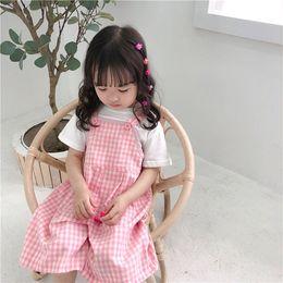 Korea Brand Clothes Australia - Korea Girl clothing Overalls Soft Lolita Style Plaid Print Pink and Green Color Girl Overalls 100% cotton Pants