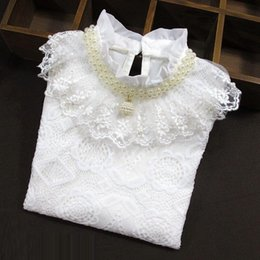 tops school girls UK - Baby Toddler Teen School Girls White Blouse Lace Shirts Tops Autumn Winter Kids Shirt Cotton Long Sleeve T-shirt 6 8 10 12 Years