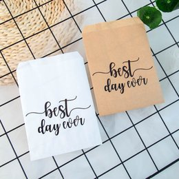$enCountryForm.capitalKeyWord Australia - 25pcs Kraft Paper Best day ever Favor Bags for Wedding Bride Shower Party Decorations Coffee Candy Popcorn Buffet Gift Bag