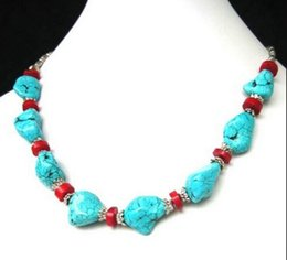 Tibet Coral Beads NZ - necklace Free shipping ++++905 Refined Tibet style Tibetan Silver stunning turquoise&Red Coral beads Necklace