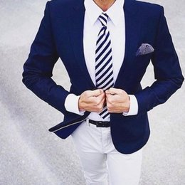 Fly Suits Australia - Navy Blue Men Blazer White Pants Smart Casual Business Formal Party Jacket Slim Fit Groom Tuxedos Best Man Wedding Prom Suits