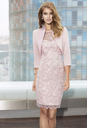 modest lavender knee length dress Australia - Modest Pink Mother Of Bride Dresses Jewel Neck Sheath Lace With 3 4 Long Sleeve Jacket Knee Length For Wedding Mother Groom Gowns
