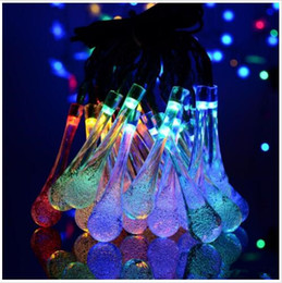 Globe plastic ball online shopping - LED Solar Powered Lights Crystal Ball Water Drop Globe Fairy Lights Working Effect Outdoor Garden Decoration Holiday Lights LED TL1103