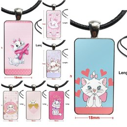 cabochon transparent Canada - Cartoon Aristochats Marie Cat transparent For Women Gift Glass Cabochon Pendant Necklace Rectangle Fashion Necklace