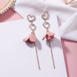 $enCountryForm.capitalKeyWord Australia - New Korean Style Irregular Love Heart Cloth Flower Long Pendientes Mujer Moda Rhinestone Tassel Drop Earrings