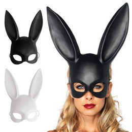 Black Bunny mask online shopping - Bar bunny Women Girl Sexy Rabbit Ears Mask Cute Bunny Long Ears Bondage Mask Halloween Masquerade Party Cosplay Costume Props