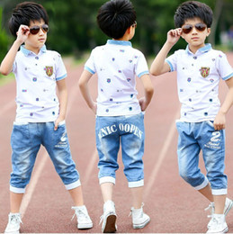 $enCountryForm.capitalKeyWord Australia - 2018 Summer Boys Clothes Sport Suit Set Fashion Casual Short Sleeve O-neck Children's Clothing Set 2 Pieces T-shirt + Jeans MX190803