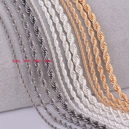 $enCountryForm.capitalKeyWord NZ - 1 piece silver gold Gunmetal black Rope chain personalzied length 2mm 3mm 4mm 5mm