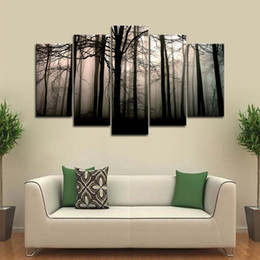 $enCountryForm.capitalKeyWord Australia - 5 Piece Large Framed Misty Forest Trees Branch Wall Art Pictures for Living Room Wall Decor Posters and Prints Canvas Painting