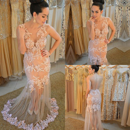 $enCountryForm.capitalKeyWord Australia - Nude Mermaid Lace Prom Dresses Sheer Neck Sexy Formal Pageant Evening Gowns transparent Back Long Garden Prom Dress 2018 abito tulle ruffles