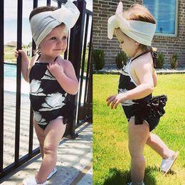 $enCountryForm.capitalKeyWord Australia - children swimwear for girls Summer Baby Girls Ruffles Swan Print Swimwear Swimsuit Backless Romper Jumpsuit kids swimsuits one