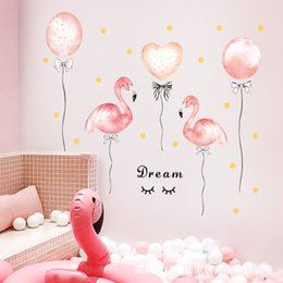 unicorn wall sticker NZ - Pink Flamingo Unicorn Wall Stickers for Kids Rooms Girls Rooms Bedroom Decor Cartoon Animal Balloon Stickers for Wall Room Decor