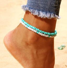 $enCountryForm.capitalKeyWord Australia - Bohemia Trendy Multilayer String Beaded Anklets Lake Blue White Rice Bead Foot Chain Summer Beach Men Women Anklet Bracelet Jewelry Gifts