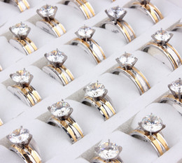 $enCountryForm.capitalKeyWord Australia - Wholesale 50Pcs Fashion Jewelry 2019 Top Grade Womens Quality Rings Zircon Gold Plated Stainless Steel Rings 7-11
