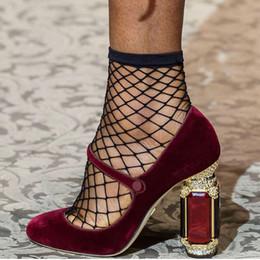 $enCountryForm.capitalKeyWord Australia - Hot Sale-Crystal Rhinestone Velvet Wedding Bride Prom Party Pumps Ankle Strap Lady Mary Jane Shoes