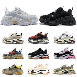 2020 balenciaga triple s shoes ancien des chaussures de designer luxe pour hommes femmes formateurs grande semelle baskets de sport tripler noir blanc de race rose 20fw en Solde