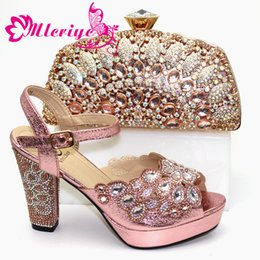 blocked heels shoes Australia - African Wedding Italian Shoes and Bag Sets Pumps Elegant Block Heel Shoes for Women Shoes with Matching Bags High Quality